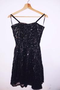 Czarna imprezowa sukienka z cekinami tiul Coolcat...