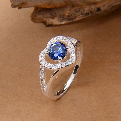 Pierścionki Nowy pierścionek srebrny kolor niebieska cyrkonia serce serduszko
