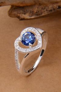 Nowy pierścionek srebrny kolor niebieska cyrkonia serce serdusz...