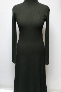 Sukienka Czarna H&M S 36 Prążkowana Rozkloszowana Long...