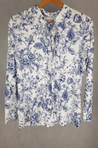Biała bluzka z niebieskimi ornamentami Esmara L...