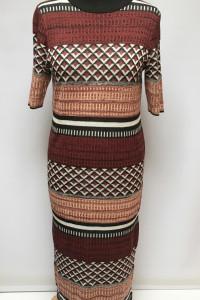 Sukienka Sweterkowa H&M Wzory L 40 Long Długa Aztec...