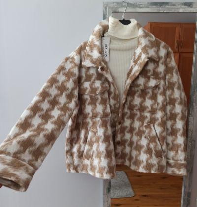 Odzież wierzchnia Kurtka koszulowa w kratę nude