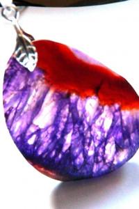 Fioletowy kryształ surowy nieregularny plaster wisior...