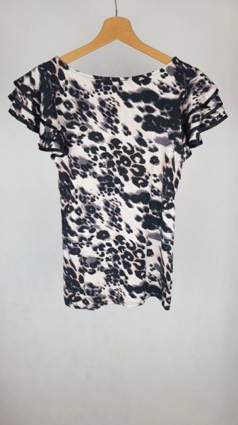 Bluzki Bluzka z ozdobnymi rękawami panterka S M L uni