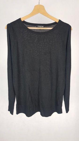 Swetry Cienki czarny sweterek z brokatem i rozciętymi rękawami 12