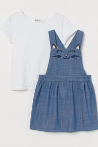 H&M komplet 116 spódnica na szelkach i biała bluzeczka