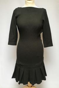 Sukienka Czarna Falbanka Zara Basic XS 34 Wizytowa