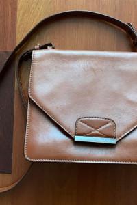 Torebka Zara brązowa skóra ekologiczna vintage listonoszka na ramię