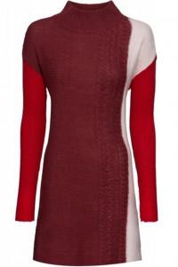 Długi sweter ze stójką pionowe kolorowe pasy 44 46 48...