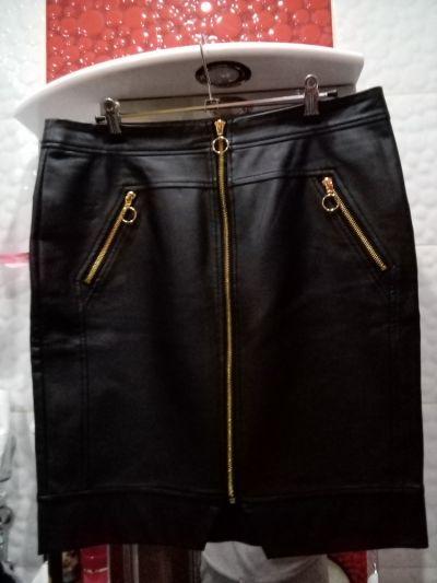 Spódnice Czarna spódnica z skóry ekologicznej z długim złotym zamkiem