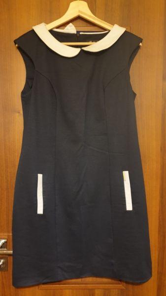 Suknie i sukienki Granatowa sukienka z kołnierzykiem