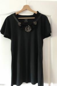 Tshirt Zara M czarny ciemny grafit