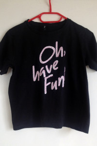 Koszulka Sinsay czarna napis Oh have fun różowy biały XS S M 34...