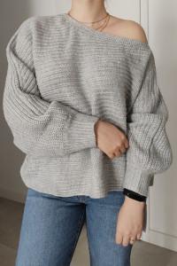 Bazowy elegancki melanżowy sweter damski na jedno ramię XL...