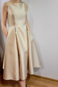 Sukienka złota z kieszeniami za kolano r 36 Adrianna Papell...