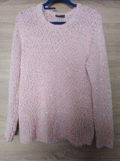 Swetry Sweter pudrowy róż cekiny Janina 42 44