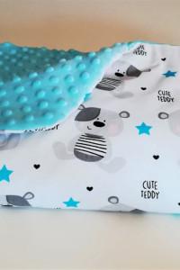 Niebieski kocyk minky z ociepleniem poduszka gratis