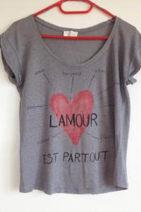 Zara koszulka używana uszkodzona szara serce nadruk xs s 34 36 tania