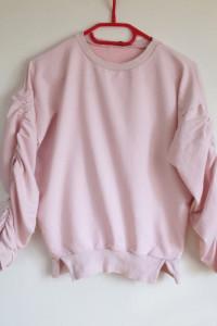 Exmoda Bluza pudrowy pastelowy róż oversize rękawy bufiaste XS s 34 36 motyl