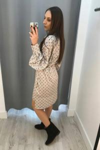 Koszulowa sukienka w sowy