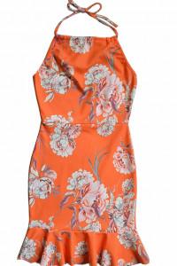 egzotyczna sukienka Boohoo night orange floral print XS...