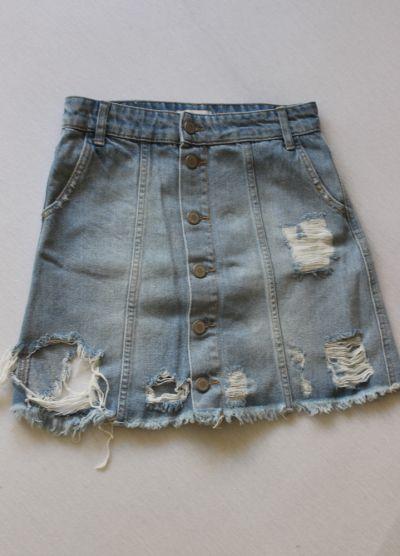 Spódnice niebieska spódniczka jeansowa z przetarciami xs
