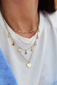 Zestaw 4 złotych łańcuszków celebrytka w kolorze złotym z serdu...