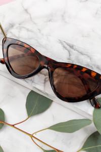Okulary przeciwsłoneczne panterka brązowe szkła cienkie modne oprawki HIT