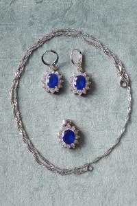 Nowy komplet biżuterii kolczyki naszyjnik wisiorek posrebrzany ...