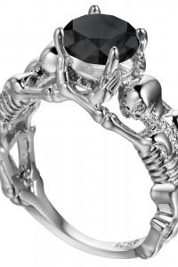 Nowy pierścionek srebrny kolor czarna cyrkonia oczko czaszka sz...