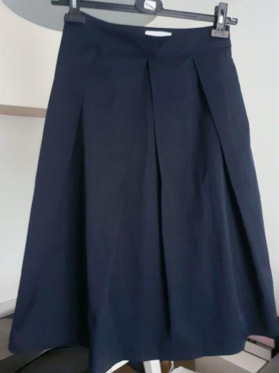 Spódnice Granatowa spódnica Reserved wiązanie w pasie rozkloszowana