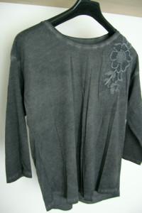Bawełniana bluzka luźna grafitowa cieniowana aplikacje Reserved S M