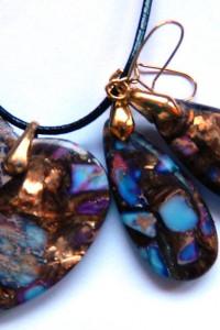 Fioletowy jaspis z pirytem wisiorek kolczyki zestaw biżuterii z...