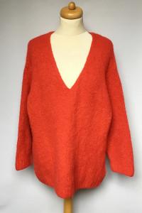 Sweter Czerwony H&M XL 42 Oversize Wełna Wełniany...