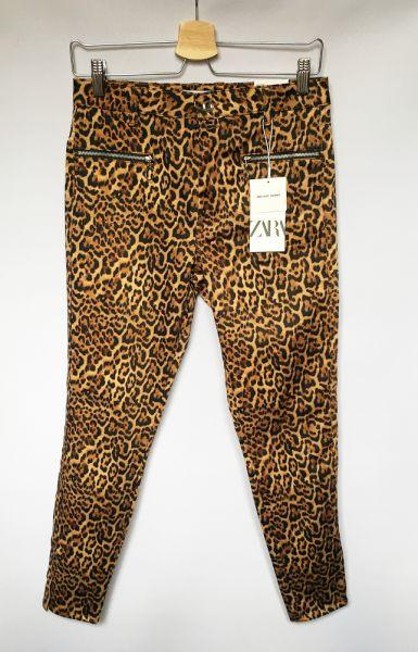 Spodnie Spodnie NOWE Panterka Cętki M 38 Rurki Zara Skinny Mid Rise