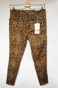 Spodnie NOWE Panterka Cętki M 38 Rurki Zara Skinny Mid Rise...