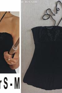 Czarna letnia bluzka z wiązaniem na szyi rozmiar 38 40...