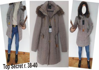 Pozostałe Nowy zimowy beżowy płaszcz kurtka top secret rozmiar M L
