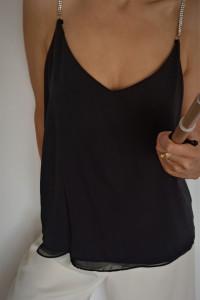 Czarny top z odpinacymi ramiączkami z białymi cyrkoniami rozmiar 44 KappAhl