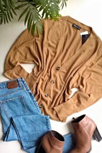 Camelowy nowy kardigan sweter na guziki oversize one size uniwe...