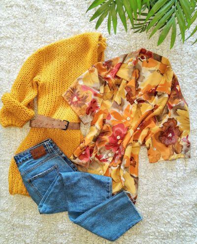 Bluzki Kwiecista koszulowa bluzka lata 80 vintage retro