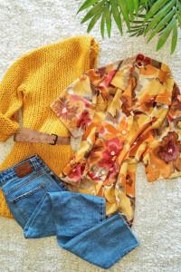 Kwiecista koszulowa bluzka lata 80 vintage retro...