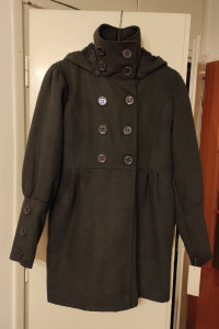 Grafitowy płaszcz z kapturem nowy...