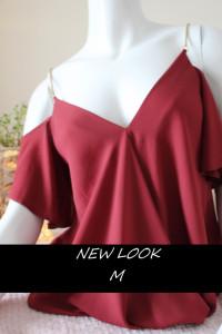 Czerwona burgundowa bluzka wiosna złote ramiączka od NEW LOOK M...