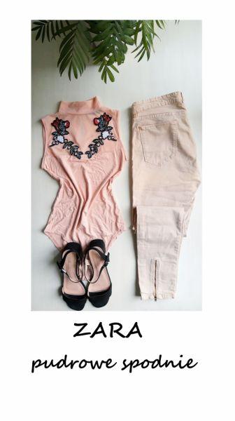 Spodnie Pudrowe spodnie ZARA z zamkami slim fit bawełna M L