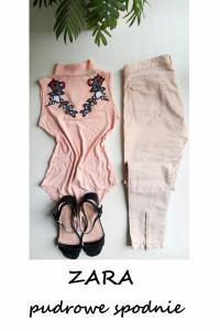 Pudrowe spodnie ZARA z zamkami slim fit bawełna M L...