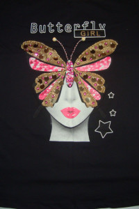 Czarna bluzka motyl cekiny roz M