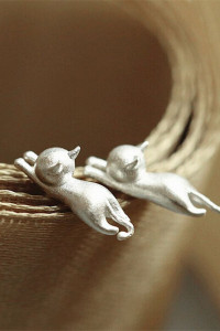 Nowe kolczyki srebrny kolor koty kotki kot sztyfty...