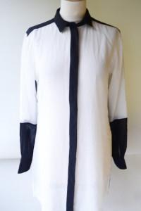 Koszula Size Needle S 36 Mgiełka Biała Czarne Wstawki